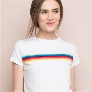 John Galt Rainbow Cropped Tee Shirt Size S